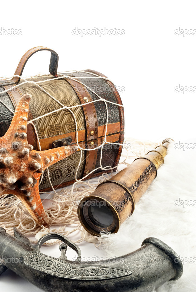 Closeup of marine pirate items on a white background. — Stock Photo #11820080