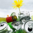 Garbage with growing daisy under storm clouds — Stock Photo #11133225