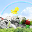 Garbage with growing daisy under rainbow — Stock Photo