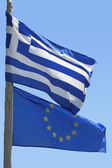 Europeiska unionen och grekisk flagga flagga — Stockfoto