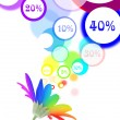 Sales speech bubbles come out of rainbow flower - Stock Photo