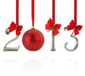 2013 calendar ornaments hanging on red ribbons — Stock Photo