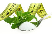 Fresh Stevia Rebaudiana, sugar in a spoon and measuring tape — Stock Photo