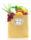 Healthy diet. Fresh food in a paper bag — Stock Photo