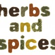 Stock Photo: Herbs and spices words