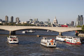 Waterloo Bridge and St Pauls Cathedral Church, London — Stock Photo