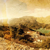 Panoramic view of beautiful mountains and lofty lake. Guadales, — Stock Photo
