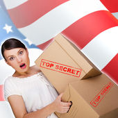 Portrait of young pretty woman with top secret package cardboard — Stock Photo