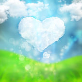 Abstract romantic love background with heart made of cloud — Stock Photo