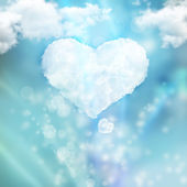 Heart from cloud against beautiful romantic background — Stock Photo