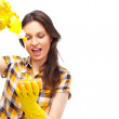 Portrait of housewife cleaner. Isolated over white background. H — Stock Photo #10947419