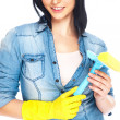 Portrait of housewife cleaner. Isolated over white background. H — Stock Photo