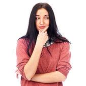 Mooie jonge vrouw dagdromen over witte achtergrond met fin — Stockfoto