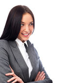 Young smiling business woman and business man isolated — Stock Photo