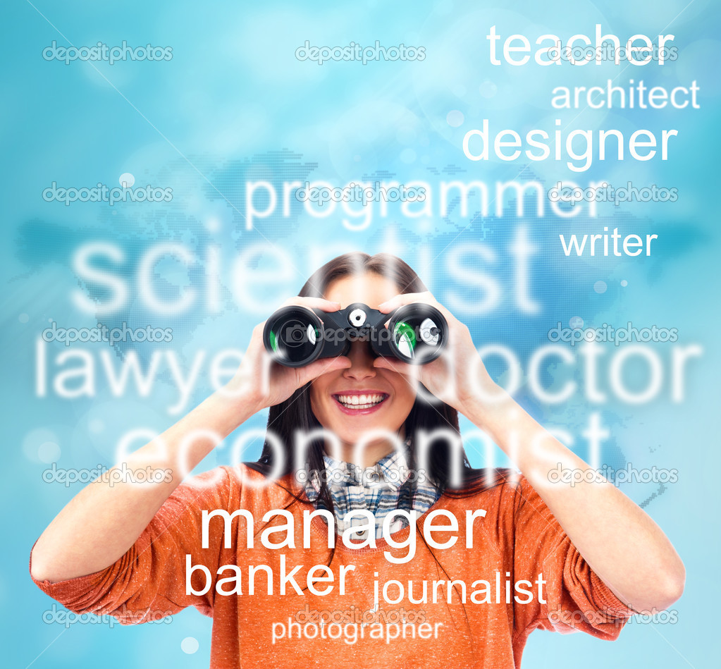 Woman looking through binoculars for specialty to study or job. at job market concept — Stock Photo #11093112