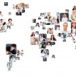 Collection of different portraits placed as world map shape — Stock Photo