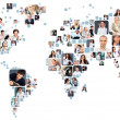 Collection of different portraits placed as world map shape — Stockfoto #11346332