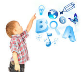 Happy little boy pointing up. Icons of different lessons flying near him. Primary education — Foto de Stock