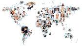 Colección de retratos diferentes colocados como forma del mapa de mundo — Foto de Stock