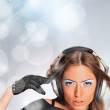 Young sexy girl dancing and listening music. Party advertisement — Stock Photo