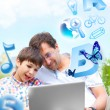 Closeup portrait of happy family: father and his son educating u — Stock Photo