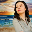 Portrait of young woman at beach and enjoying time. Idealistic a — Stock Photo