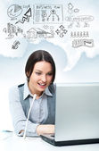 Pretty woman support call center specialist working. Graphic sym — Stock Photo