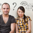 Closeup portrait of adult couple sitting on floor — Stock Photo #11678727