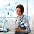 Adult young pretty business woman working at her office — Stock Photo #11679705