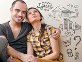 Closeup portrait adulte couple assis sur le plancher — Photo