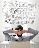 Mulher de negócios jovem, pensando em seus planos — Foto Stock