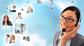 Telemarketing headset woman from call center — Stock Photo