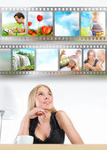 Young woman has images around her head representing entertainmen — Stock Photo
