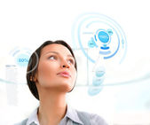 Successful person making use of innovative technologies — Stock Photo