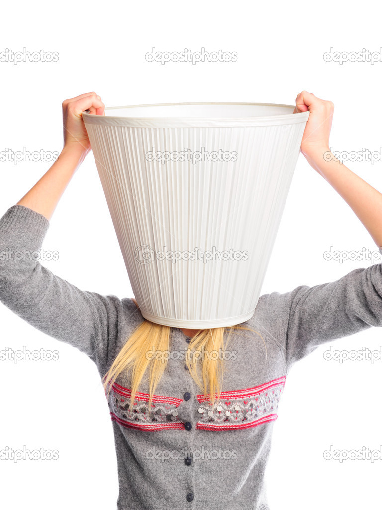 Young Woman Wearing Lampshade On Her Head Young Head Is A