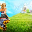 Young woman running across field to house and family of her dream — Stock Photo #12147449