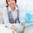 Young woman working with virtual interface — Stock Photo #12269599