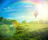 Bella imagen del impresionante puesta de sol con nubes atmosféricas y s — Foto de Stock
