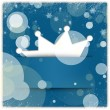 Blue winter style background with crown applique and snowflakes — Stock Photo