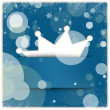 Blue winter style background with crown applique and snowflakes — Stock fotografie