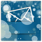 Blue winter style message icon and background — Stock Photo