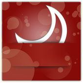 White moon applique on red christmas background — Stock Photo
