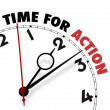 Stock Photo: White clock with words Time for Action on its face