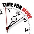 White clock with words Time for Move on its face — Stock Photo