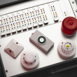 Smoke and fire detectors and control console - Stock Photo
