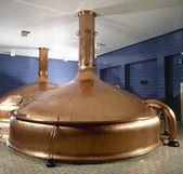 Brewery workshop with copper fermentation vats — Stock Photo