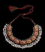Beautifull necklace on black background — Stock Photo