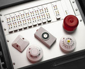 Smoke and fire detectors and control console — Стоковое фото