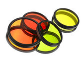 Color filters for lenses over white — Stok fotoğraf