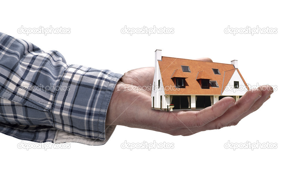 The house in human hand, clipping path — Stock Photo #11137718